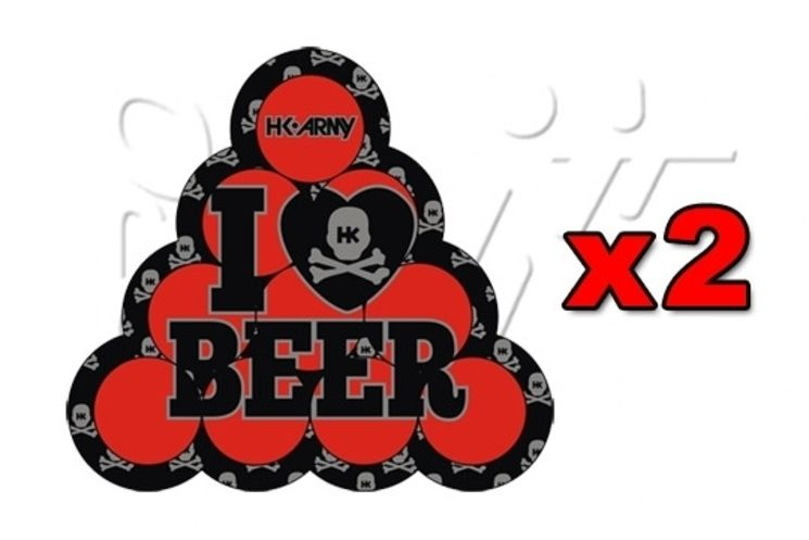 2 Stickers HK BEER PONG RED